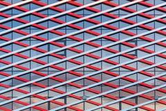 Fragment van de moderne bouw van glas en metaal stock foto