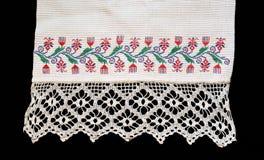 Fragment van de oude geborduurde handdoek Royalty-vrije Stock Fotografie
