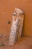 Fragment van decoratie van de stad van kolom saray-Batu op de banken van de rivier Ashuluk royalty-vrije stock afbeeldingen