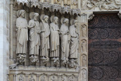 Fragment van decoratie van Notre Dame de Paris Stock Fotografie