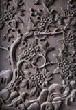 Fragment van decoratieve gravure op hout royalty-vrije stock foto's