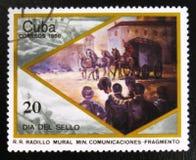 Fragment van een beeld door R r Radillo met het beeld van een oude passagierswagens, circa 1986 Stock Foto