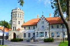 Fragment van een kasteel in een middeleeuwse stijl - Marienberg stock foto