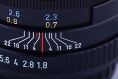 Fragment van een lens SLR Stock Fotografie