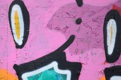 Fragment van een mooi graffitipatroon in roze en groen met stock foto's