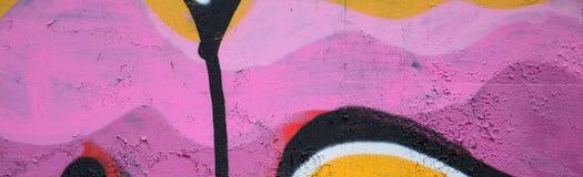 Fragment van een mooi graffitipatroon in roze en groen met stock foto