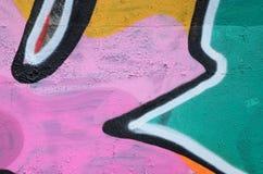 Fragment van een mooi graffitipatroon in roze en groen met royalty-vrije stock fotografie