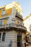 Fragment van een oud huis in Milaan Italië 05 05.2017 Royalty-vrije Stock Afbeeldingen