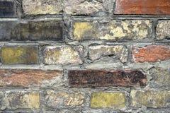 Fragment van een oude bakstenen muur De textuur van het metselwerk royalty-vrije stock afbeeldingen