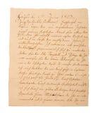 Fragment van een oude met de hand geschreven brief stock foto's