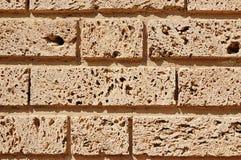 Fragment van een poreuze kalksteenmuur Stock Foto