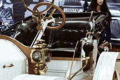 Fragment van een retro auto in een museum royalty-vrije stock fotografie