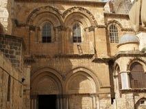Fragment van een voorgevel van Kerk van de Verrijzenis Jeruzalem, Israël Royalty-vrije Stock Afbeeldingen