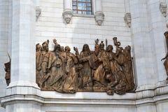 Fragment van extern meubilair van een Christelijke tempel van Christus van de Verlosser in Moskou stock afbeeldingen