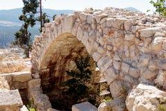 Fragment van gebouwen binnen in de geruïneerde stad Safed, Israël Stock Fotografie