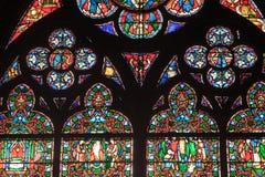 Fragment van gebrandschilderd glasvensters. Notre Dame DE P Royalty-vrije Stock Foto