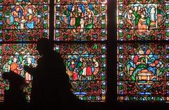 Fragment van gebrandschilderd glasvensters. Notre Dame DE P Royalty-vrije Stock Afbeelding