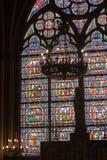Fragment van gebrandschilderd glasvensters. Notre Dame DE P Stock Foto