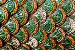Fragment van geschilderde leuningen in Boeddhistische tempel royalty-vrije stock foto