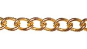 Fragment van gouden geïsoleerde ketting Royalty-vrije Stock Afbeelding