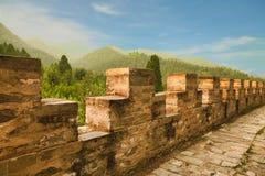 Fragment van het belangrijkste symbool van China - de Grote Muur van China Peking royalty-vrije stock afbeelding
