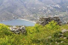 Fragment van het Kasteel van Faneromeni op Andros Griekenland, Cycladen royalty-vrije stock fotografie