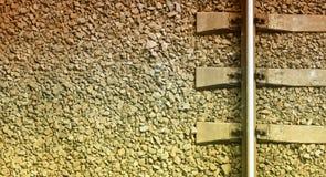 Fragment van het oude close-up van het spoorwegspoor royalty-vrije stock afbeeldingen
