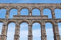 Fragment van het Roman aquaduct in Segovia Stock Foto