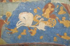 Fragment van het schilderen van in de Tempel van het Onthoofden van John Doopsgezind in de stad van Yaroslavl, Rusland royalty-vrije stock afbeeldingen