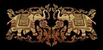 Fragment van het tapijtwerk van Thailand Stock Foto's