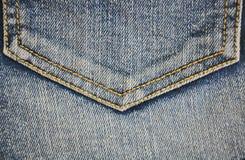 Fragment van jeanszak, close-up Stock Afbeeldingen