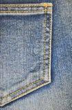 Fragment van jeanszak, close-up Stock Afbeelding