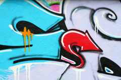 Fragment van kleurrijke graffiti Stock Foto