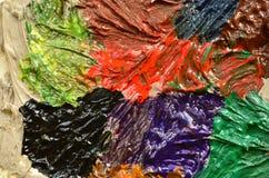 Fragment van olie het abstracte schilderen in glanzende tonen Stock Afbeeldingen