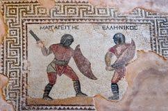 Fragment van oud mozaïek in Kourion, Cyprus Royalty-vrije Stock Afbeelding