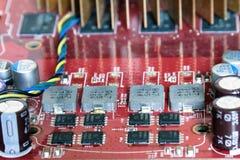 Fragment van oude elektronische raads dichte omhooggaand stock afbeelding
