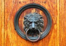 Fragment van oude houten deur met het hoofd van de bronsleeuw als doorkno Royalty-vrije Stock Afbeeldingen