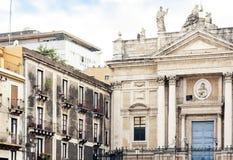 Fragment van oude kathedraal, de mening van de stad van Catani?, Sicili?, Itali? stock afbeelding