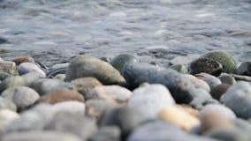 Fragment van overzeese kust met een kiezelsteenstrand stock video