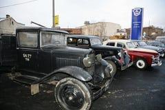 Fragment van retro oude auto GAZ - aa, beroemde `-polutorka `, de auto van de tweede wereldoorlog WW2 - DE USSR 1930 Royalty-vrije Stock Foto's