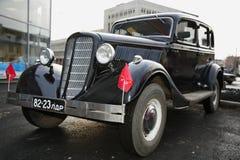 Fragment van retro oude auto Volga GAZ - A - de eerste personenautoinstallatie - de USSR 1930 Stock Foto's
