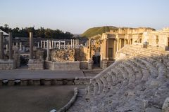Fragment van Romans Amphiteatron-ruïnes in Beit She ' (Scythopol Stock Afbeeldingen