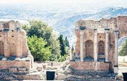 Fragment van ru?nes van amfitheater in Taormina, Sicili?, Itali? stock foto's