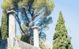 Fragment van ru?nes van amfitheater in Taormina, Sicili?, Itali? stock afbeeldingen