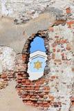 Fragment van synagoge in het hiaat van oude muur, Riga (Letland) royalty-vrije stock foto's