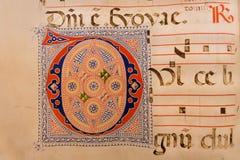 Fragment van tekst in oud document boek in bibliotheek van Museum van San Marco, vroeger de 15de eeuwklooster van Dominicanen royalty-vrije stock afbeeldingen