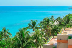 Fragment of view above the tropical garden and tranquil azure ocean Stock Images
