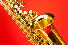 Fragment view of alto saxophone with bell and keys Royalty Free Stock Photos