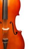 Fragment view of cello body with bridge, F-holes Stock Photo