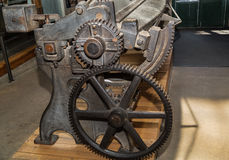 fragment of view of old vintage, stylish machinery gears Royalty Free Stock Photo